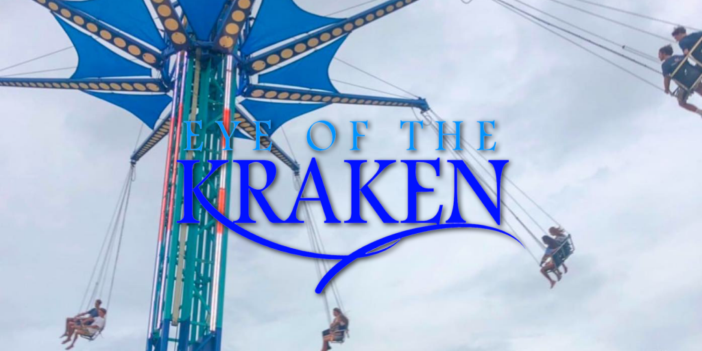Logo for the Eye of the Kraken tower swings attraction at Swampy Jack