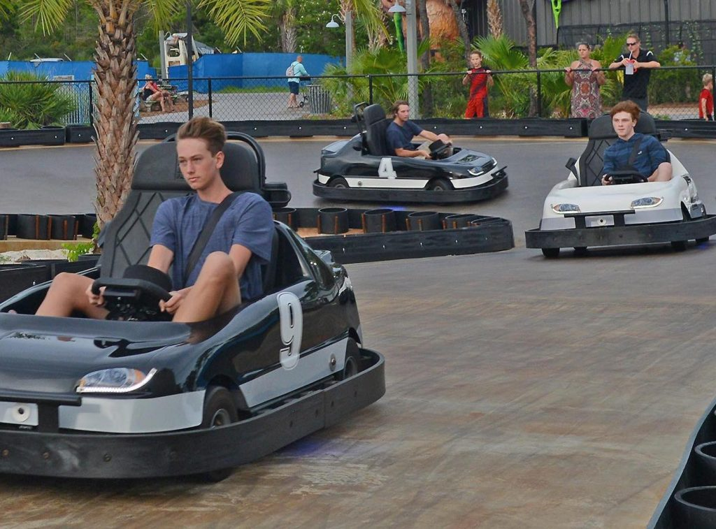 Speeding along the racetrack in electric go-karts at Swampy Jack