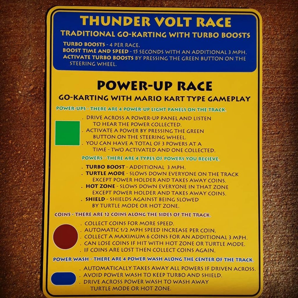 Race types for Marrakesh Road Rally electric go-karts in Panama City Beach, Florida